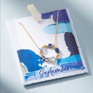 September Birthstone Infinity Necklace Gold Blue
